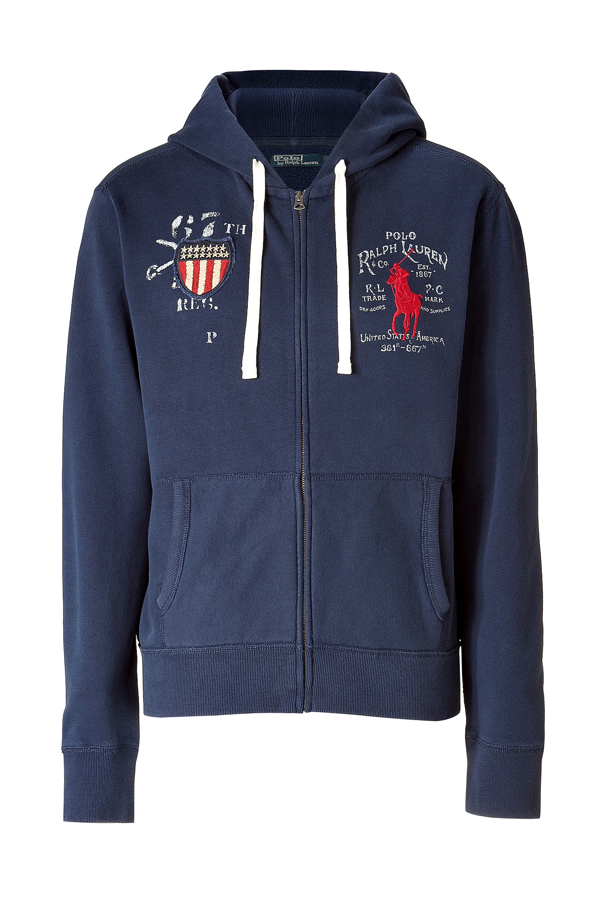 Polo Ralph Lauren Yankee Harbor Fleece Hoodie Jacket In Blue For Men | Lyst