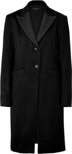 Rag & Bone Black Wool Coat in Black