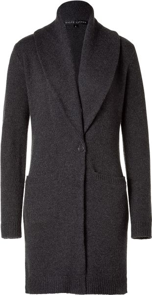 Ralph Lauren Grey Mélange Shawl Collar Cardigan in Gray (grey) - Lyst