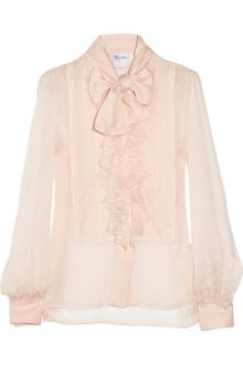 RED Valentino Pussy-Bow Ruffled Silk-Crepe Blouse - Lyst