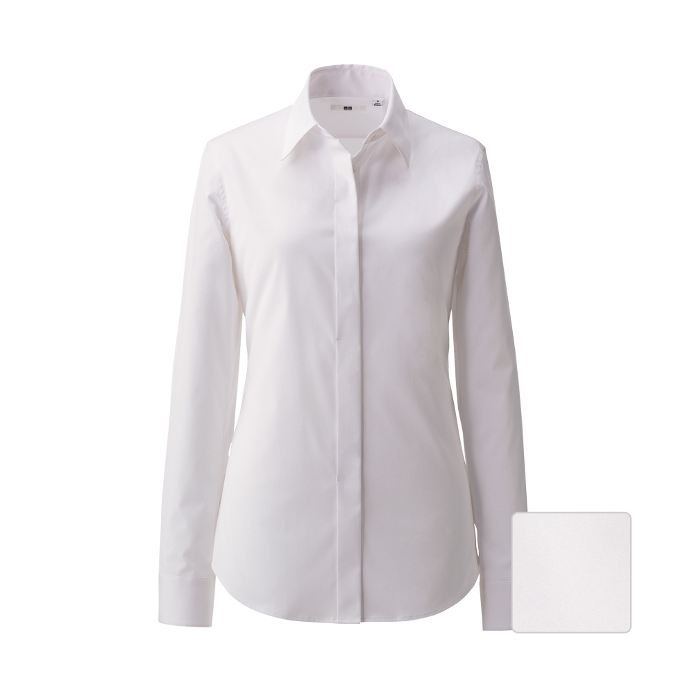 Uniqlo women uv cut stretch broadcloth fly front long for Uv long sleeve shirt womens