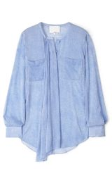 3.1 Phillip Lim Fur Print Silk Shirt in Blue (denim) - Lyst