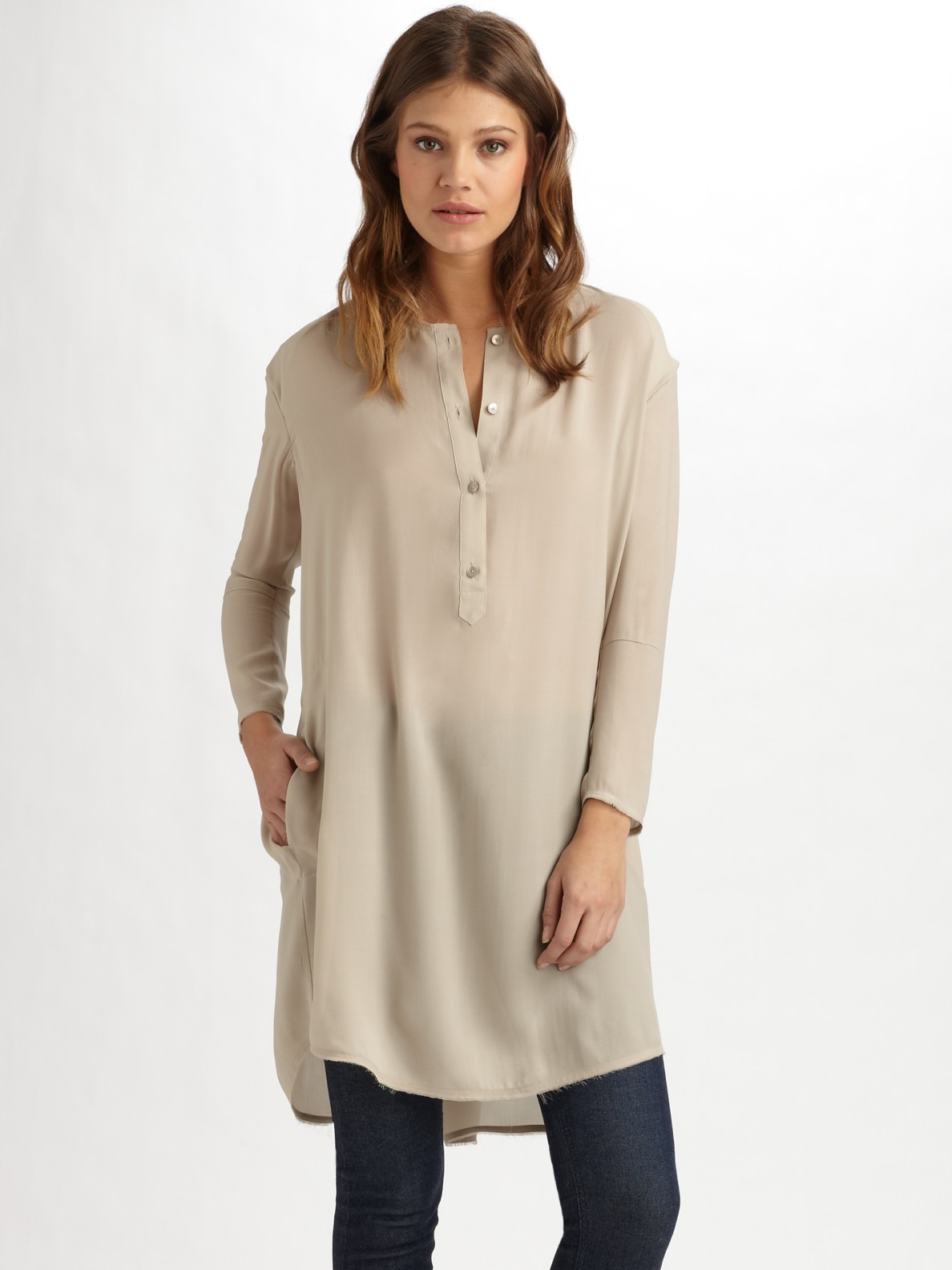 Lyst - Acne Studios Silk Tunic Top in Natural