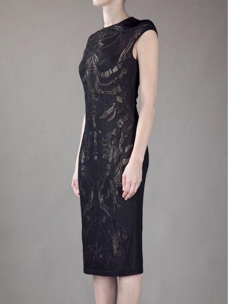 Alexander Mcqueen Lace Pencil Dress In Black Lyst