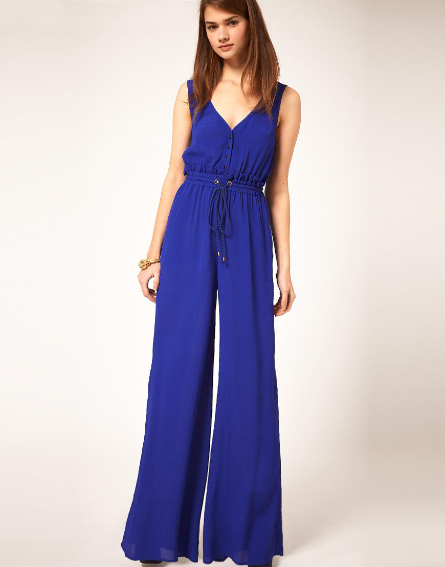 d289171d186 Lyst - ASOS Collection Jumpsuit With Rope Tie in Blue