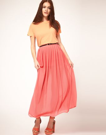 ASOS Collection Asos Belted Maxi Skirt with Pleats - Lyst
