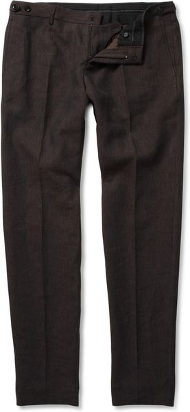 Burberry Prorsum Slimfit Linen Trousers in Black for Men (brown) - Lyst