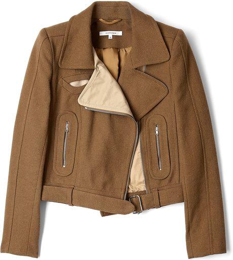 Carven Contrast Woven Biker Jacket in Brown