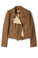 Carven Contrast Woven Biker Jacket in Brown - Lyst