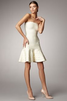 Hervé Léger Scalloped Strapless Bandage Dress, Papyrus - Lyst