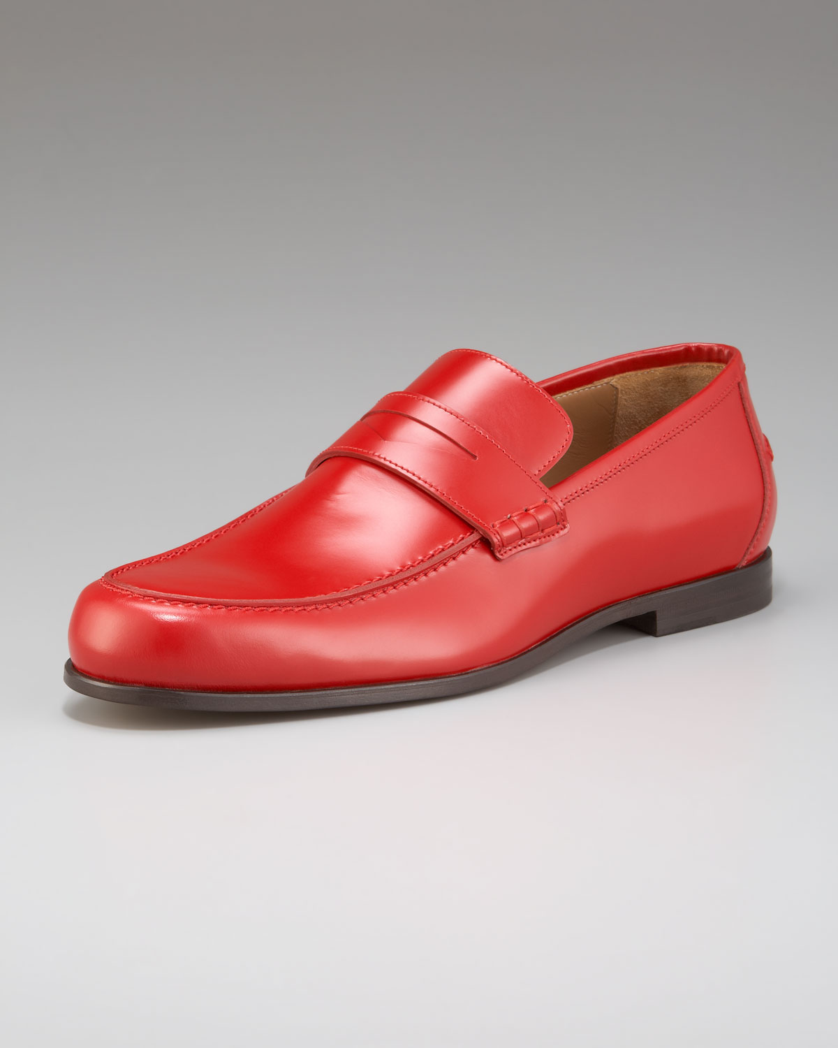Lyst - Jimmy Choo Shiny Leather Penny Loafer in Red for Men