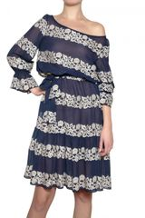 Luisa Beccaria Embroidered Silk Georgette Dress - Lyst