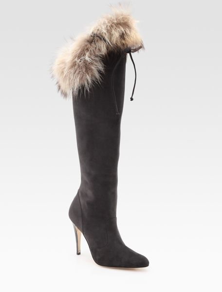 manolo blahnik suede and raccoon fur knee high boots in