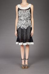 Oscar De La Renta Embroidered Dress in Black - Lyst