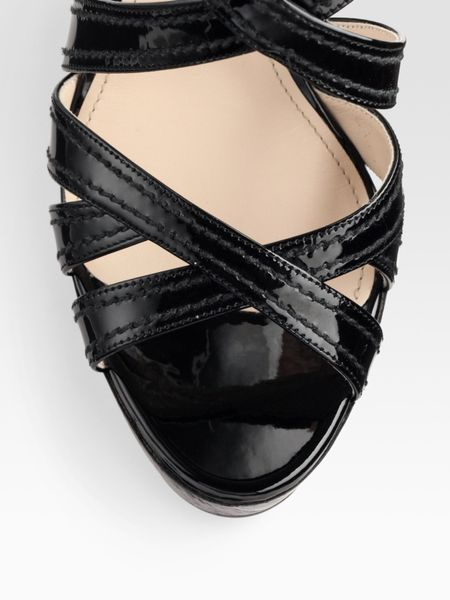 Prada Patent Leather And Wood Criss Cross Wedge Sandals In