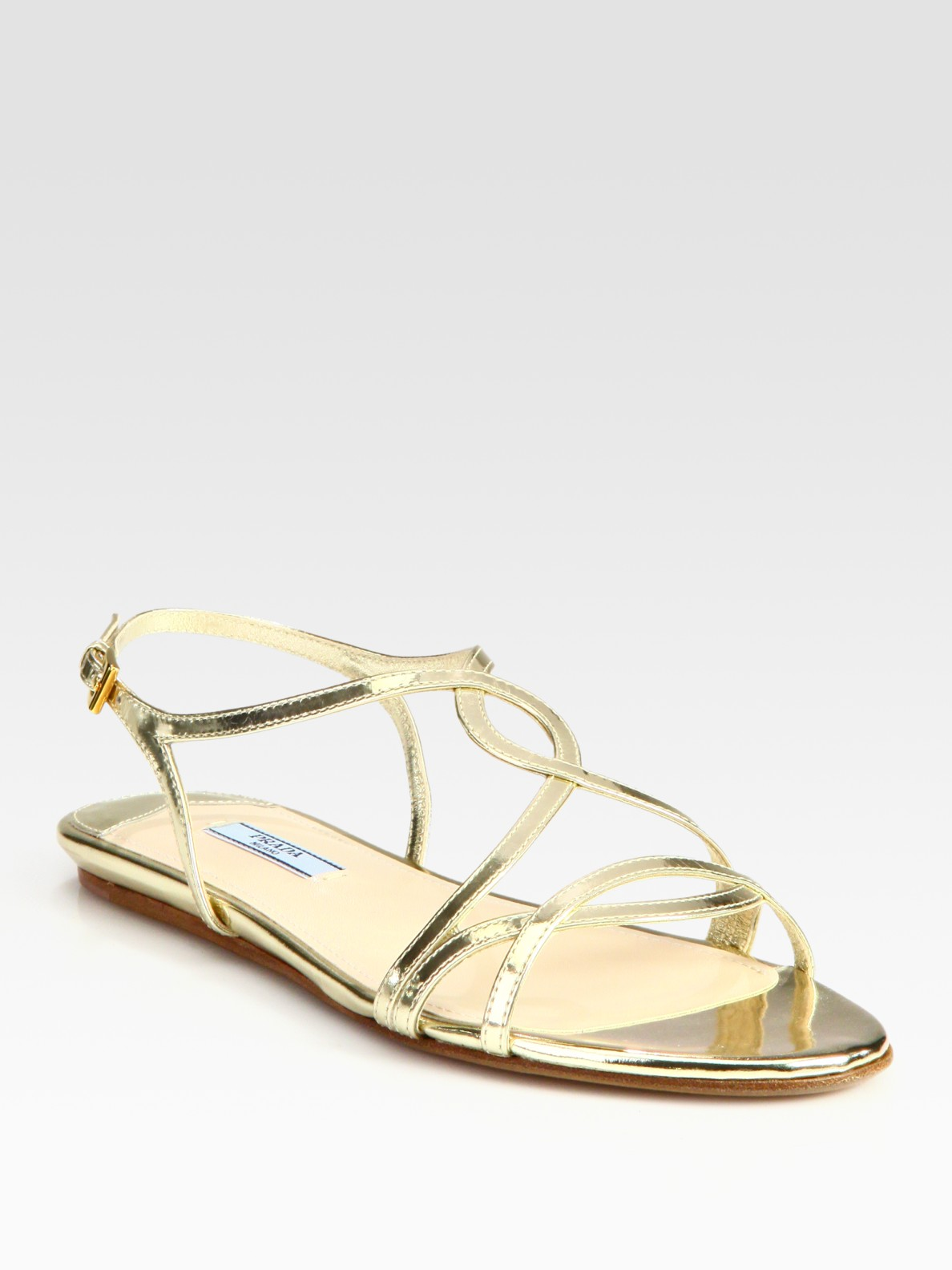 Lyst Prada Metallic Leather Flat Sandals In Metallic