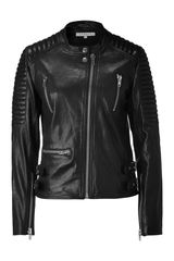 Sandro Black Leather Biker Jacket in Black - Lyst