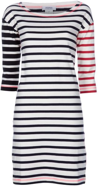 Sonia By Sonia Rykiel Striped Cotton Dress in Beige (cream)