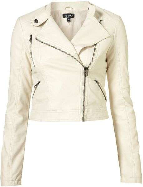 Topshop Clean Pu Biker Jacket in White (off white)