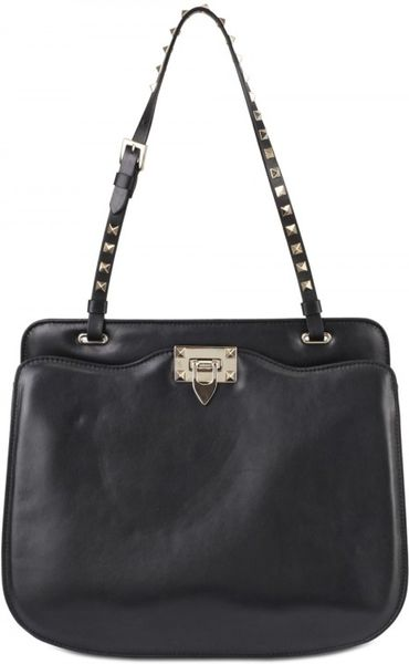 Valentino Rockstud Nappa Shoulder Bag in Black - Lyst