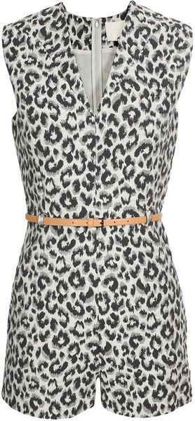 3.1 Phillip Lim Cotton-silk Leopard Printed Playsuit - Lyst