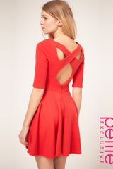 Asos Collection Asos Petite Exclusive Cross Back Skater Dress in Pink (hibiscus) - Lyst