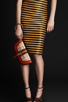 Burberry Prorsum Raffia Stripe Pencil Skirt - Lyst