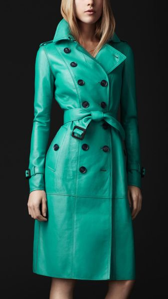 Burberry Prorsum Vibrant Bonded Leather Trench Coat in Green (malachite / spice) - Lyst