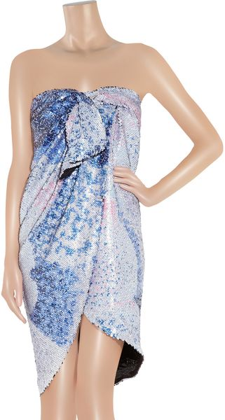 Halston Sequined Wrap-Effect Dress - Lyst
