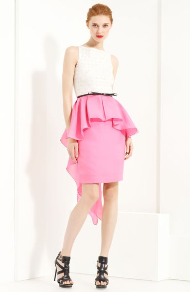 Jason Wu Belted Peplum Dress in Pink (ivory/ pink) - Lyst