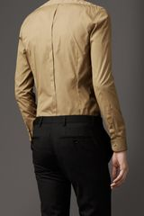 Burberry Satin Edged Cotton Shirt in Beige for Men (pale military khaki) - Lyst