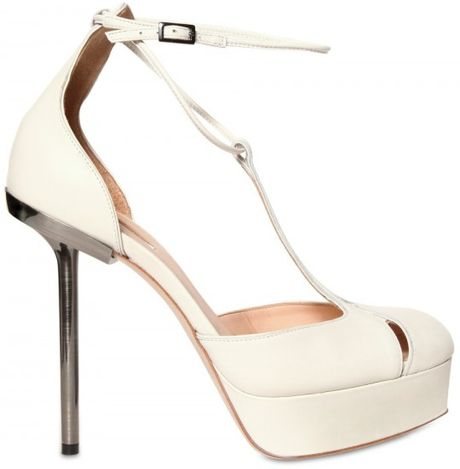 Calvin Klein 150mm Smooth Leather Pumps in White - Lyst
