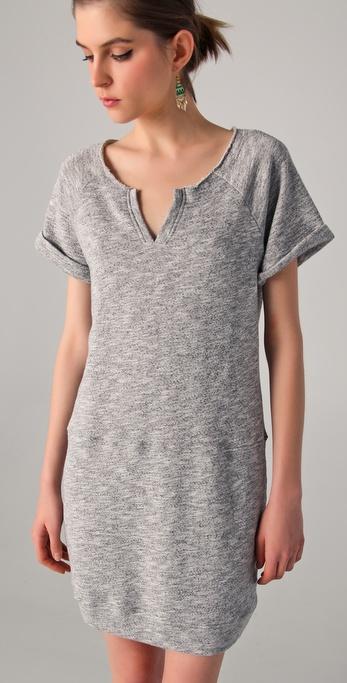 4efd3ff7577 C C California Short Sleeve Terry Sweatshirt Dress in Gray - Lyst