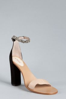 Chloé Black and Tan Leather Jeweled Ankle Strap Sandals - Lyst