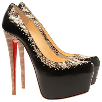 Christian Louboutin Dafreak Python and Leather Platform Pumps - Lyst