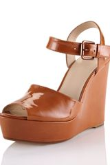 Kors By Michael Kors Carmila Patent Leather Wedge Sandal - Lyst