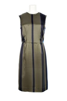 Lanvin Three-Tone Stripped Silk Satin Sleeveless Dress - Lyst