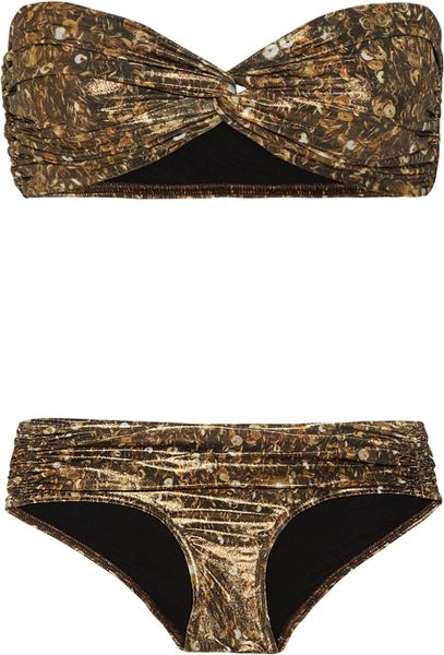 Lanvin Sequin-print Metallic Bandeau Bikini in Gold (bronze)