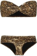 Lanvin Sequinprint Metallic Bandeau Bikini in Gold (bronze) - Lyst