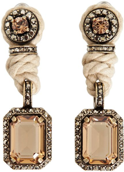 Lanvin Rope and Crystal Earrings in Gold (natural) - Lyst