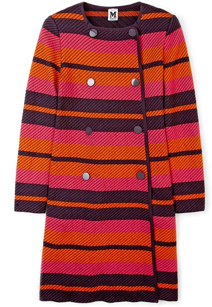M Missoni Fluoro Stripe Double Breasted Knit Coat in Pink - Lyst