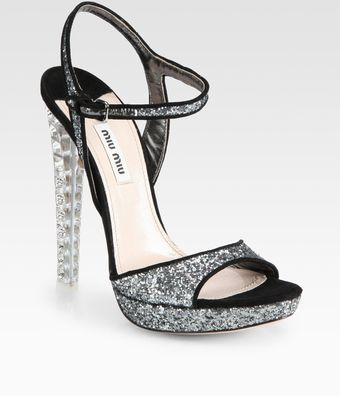 Miu Miu Glitter and Suede Jeweled Heel Sandals - Lyst