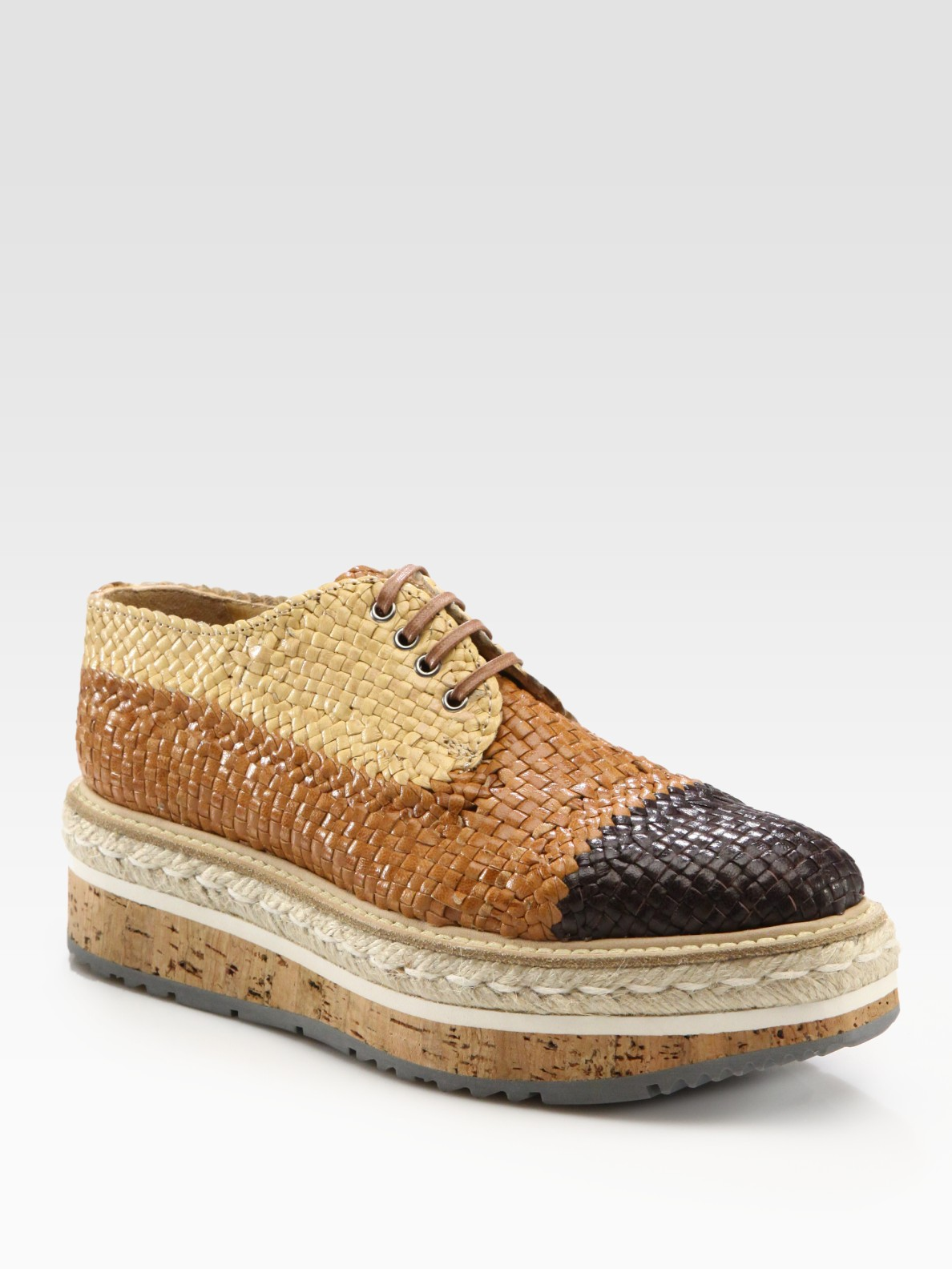 Prada Woven Lace Up Platform Oxfords In Brown Lyst