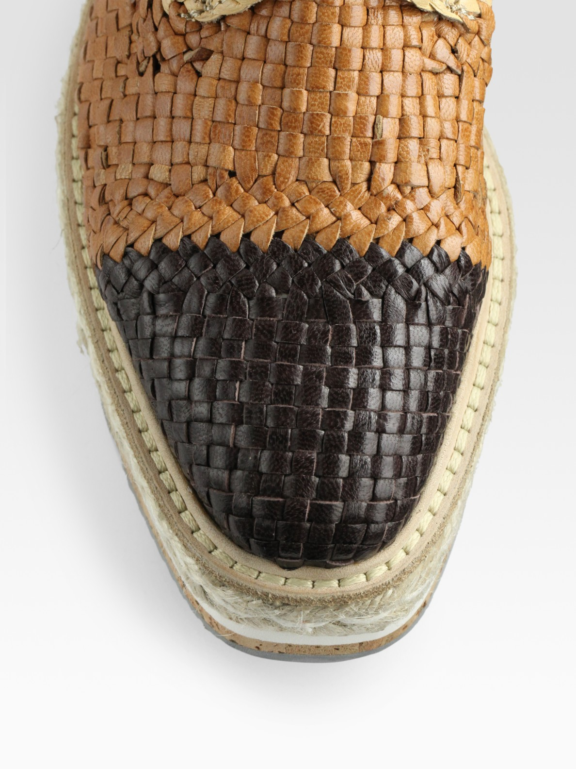 6fb228464212 Lyst - Prada Woven Lace-up Platform Oxfords in Brown