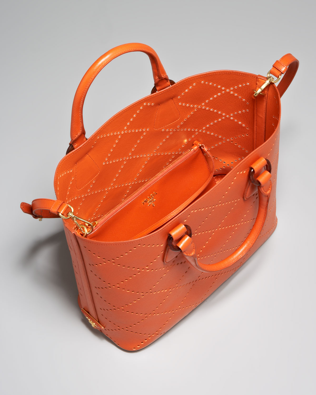 hand bags prada - prada black perforated saffiano tote