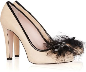 RED Valentino Tulle-embellished Leather Pumps - Lyst