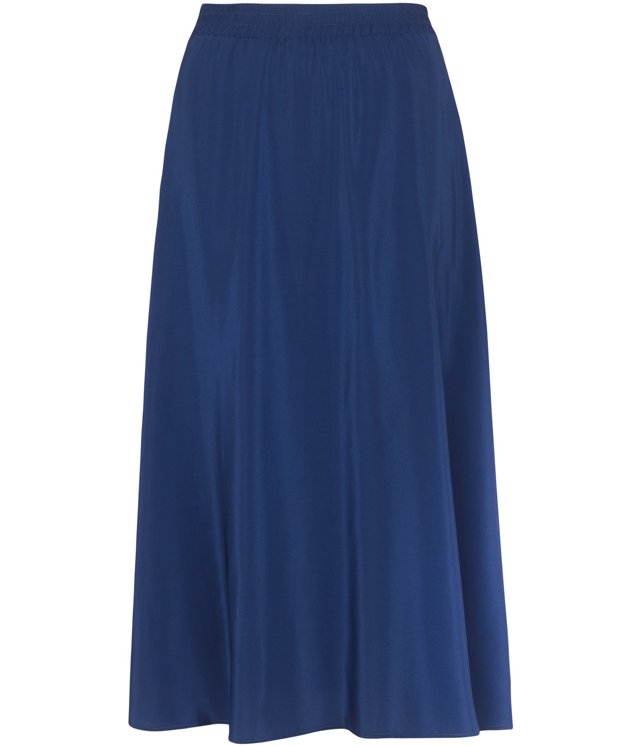 tucker navy high waisted silk midi skirt in blue navy lyst