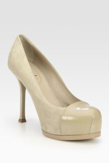 Yves Saint Laurent Suede and Patent Leather Platform Pumps - Lyst