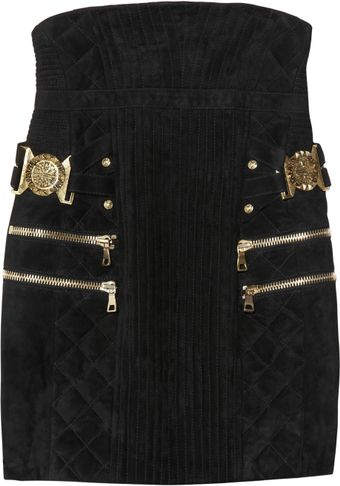 Balmain High-waisted Quilted Suede Skirt - Lyst