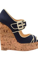 Christian Louboutin 'Melides 'Canvas and Cork Platform Wedges in Blue (navy) - Lyst